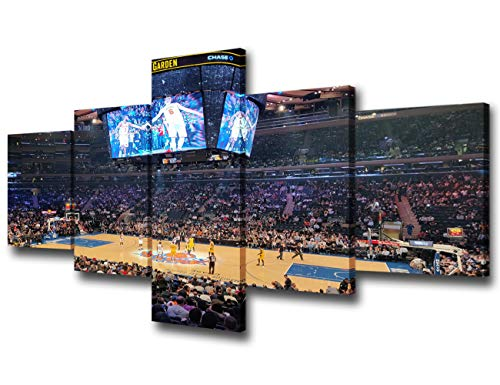 Wall Art for Living Room New York Manhattan Madison Square Garden Paintings Basketball Pictures 5 Piece Canvas Modern Artwork Home Decor Giclee Wooden Framed and Stretched Ready to Hang - 50''Wx24''H