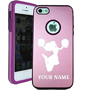 SudysAccessories Personalized Customized Custom Cheerleader iPhone 5 Case iPhone 5S Case - MetalTouch Pink Aluminium Shell With Silicone Inner Protective Designer Case-Personalized For FREE(Send us an Amazon email after purchase with your choice of NAME)