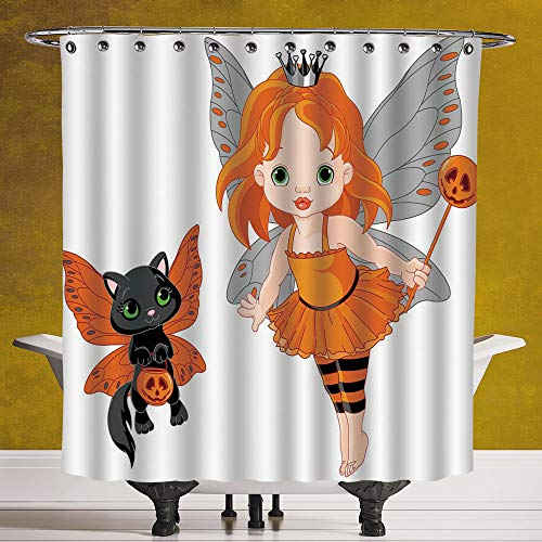 SCOCICI Decorative Shower Curtain 3.0 [ Halloween,Halloween Baby Fairy and Her Cat in Costumes Butterflies Girls Kids Room Decor Decorative,Multicolor ] Bathroom Accessories with Hooks
