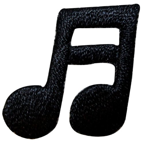 ID 9179 Double Sixteenth Note Patch Musical Symbol Embroidered Iron On Applique (Double 16th Note)