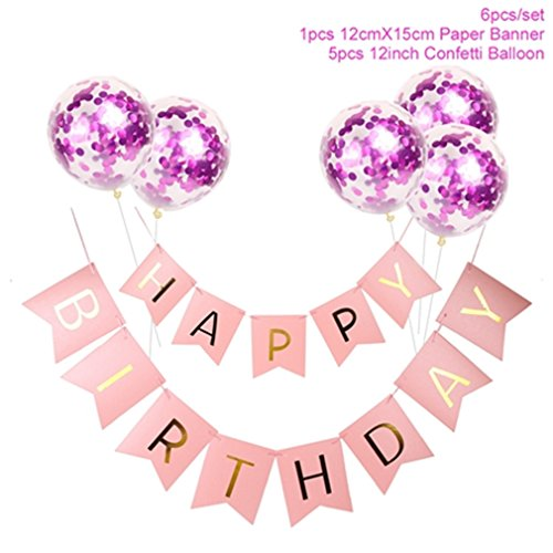 White Happy Birthday Banner Gold Confetti Balloons Letter Banner Birthday Party Decorations Boy Girl Kids Party Favors pink rose pink]()