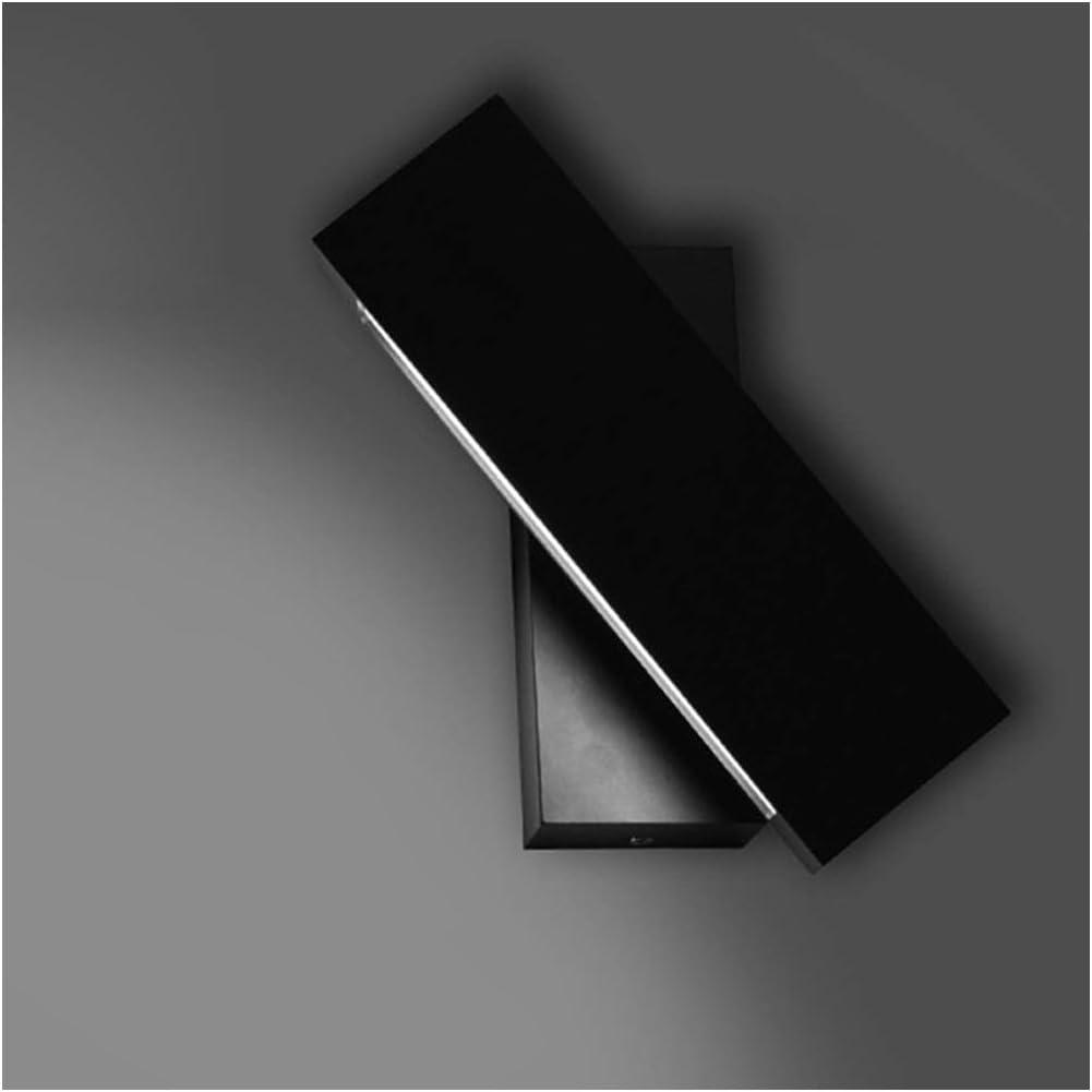 LED Wandleuchte Scheinwerfer Bett Treppe Gang Balkon Hotel Lesen Schlafzimmer Schalter Drehbar Lampe Farbe : Positive white light-BLACK-6W