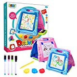 Jopee 3 in 1 Portable Magnetic Drawing Board with Storage Pen Box for Kids, magic doodle whiteboard drawing pads for children with clips, for drawing, writing, travel, awesome gifts for kids