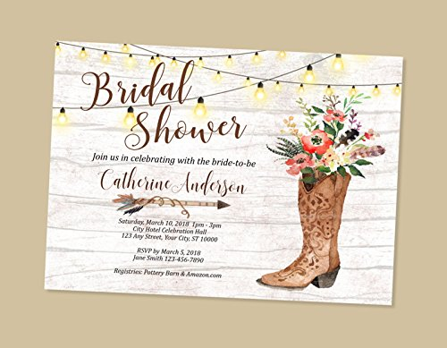 Amazoncom Cowgirl Bridal Shower Invitation Western Theme Bridal