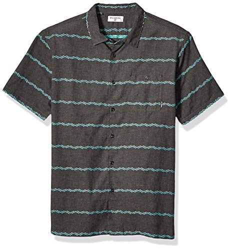 Billabong Men's Sundays Jacquard Short Sleeve Shirt Asphalt Heather 2XL