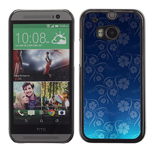 Plastic Shell Protective Case Cover || HTC One M8 || Wallpaper Blue Flowers Floral Pattern @XPTECH