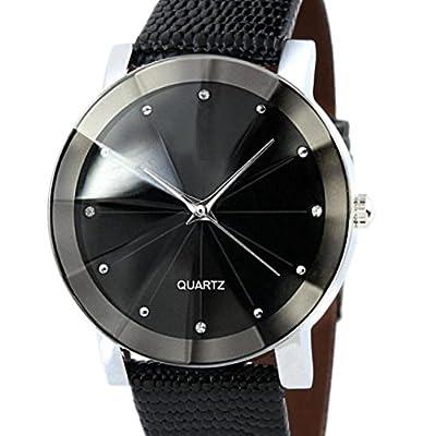 Beautyvan, Luxury Quartz Sport Military Stainless Steel Dial Leather Band Wrist Watch Men