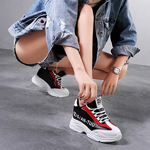 Zapatos De white Con Profundos Blanco Deportes Casual Cordones Bajo Microfibra Zapatillas Negro Poco Yan top Black Mujer 34 Moda Atléticos 4T5x8pFnq