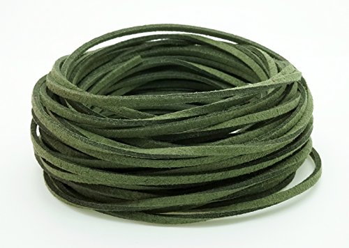 DARK GREEN 3mm x 1.5mm Faux Suede Cord Leather Lace Bracelet Necklace Making (10yards Skein) (Green Leather Cord)