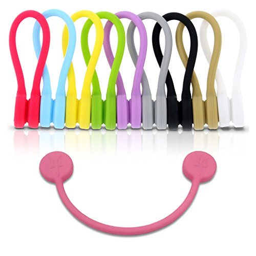TwistieMag Strong Magnetic Twist Ties - Multi Color for Men & Women - 10 Pack - Unique Gadgets For Cable Management, Hanging & Holding Stuff, Or Just For Fun!