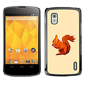 MOBMART Carcasa Funda Case Cover Armor Shell PARA LG Nexus 4 E960 - Brown Colored Mr. Rabbit