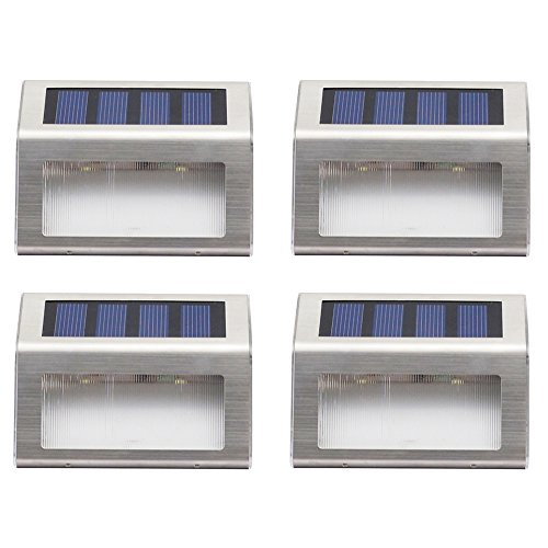 MADKING Pack of 4 - LED Solar Lights Outdoor Decorative Garden Fence Lamp Stainless Steel Solar Powered Waterproof Wireless Auto On/Off Step Path Light, Daylight by MADKING