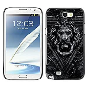 MOBMART Carcasa Funda Case Cover Armor Shell PARA Samsung Note 2 N7100 - Crafted Man-Lion Gray Image