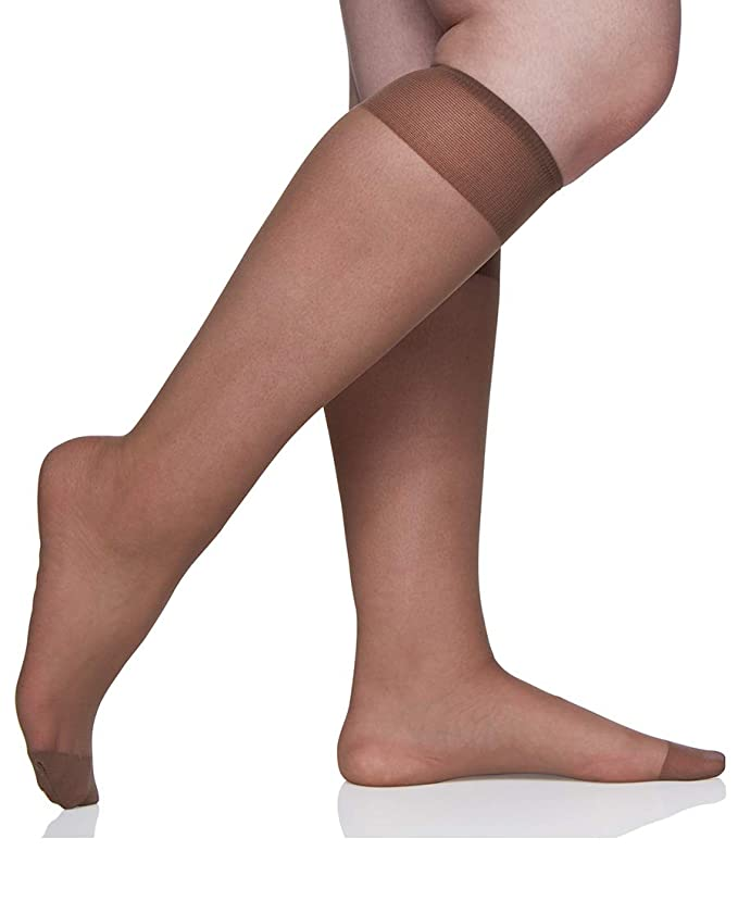 39186db89 Berkshire Women s Plus-Size Queen All Day Knee High Pantyhose with  Reinforced Toe