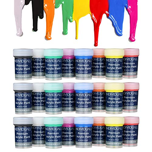 24 Cans of Premium Acrylic Paints by individuall - Professional Grade Acrylic Paint Set - Acrylic Hobby Paints Made in Germany - Craft Paint Set, 8 Vivid Colors - for Beginners, Students, Artists