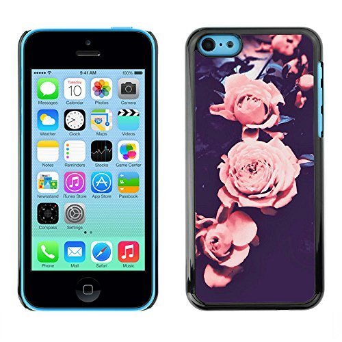 Ziland / Premium Slim HD plastique et d'aluminium Coque Cas Case Drapeau Cover / Pink Black Petal Flower / Apple iPhone 5C