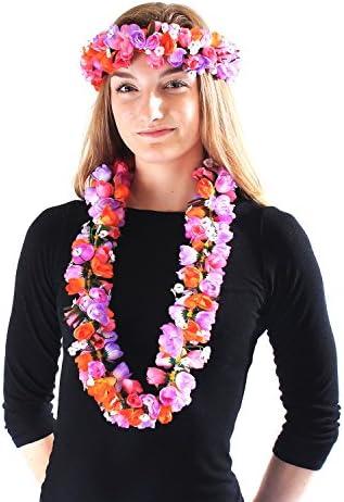 Hawaiian Lei Party Luau Headband Haku Elastic Flower Tuberose Purple PInk