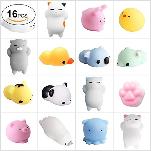 Squishies China_Warmlife 16 Pcs Kawaii Squishy Toys Mini Mochi Squishy Toys Stress Squishy Animals Decoration Squishy Cat Panda Pig Octopus