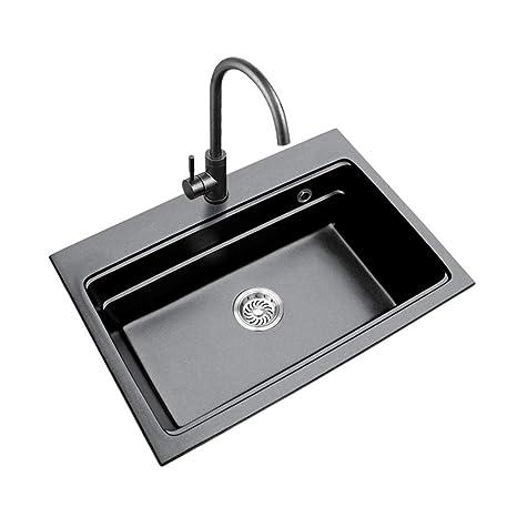 Lavelli da cucina Cucina lavello nero singolo serbatoio ...