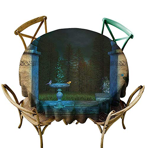 Restaurant tablecloth 50 inch Gothic,Forest Landscape from Ancient Archway Birds on Fountain Fairytale Illustration,Blue Grey Green 100% Polyester Spillproof Tablecloths for Round -