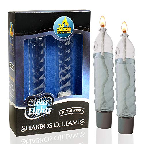 Ner Mitzvah Glass Paraffin Shabbat Candle Holder Cup and Wick - Twisted Candle Shape, 4
