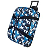 Wildkin Rolling Duffel Bag, Features Telescopic Handle and Moisture-Resistant Lining, Perfect for Sleepovers, Sports Practice, and Travel – Blue Camo