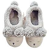 Halluci Women's Cozy Fleece Memory Foam House Trick Treat Halloween Slippers Grey, 5-6 US