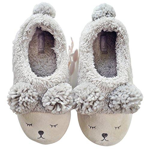 HALLUCI Women's Cozy Fleece Memory Foam House Trick or Treat Halloween Slippers Grey, 5-6 US