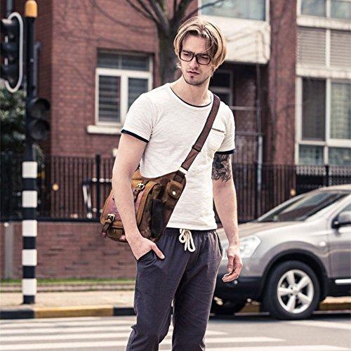 Mens Vintage Canvas Shoulder Messenger Bag Chest Leather Patchwork Messenger Bag