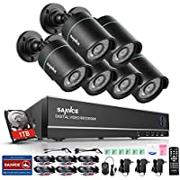 SANNCE 8CH 1080N Security Camera System DVR with 1TB Hard Drive and (6) 720P Night Vision Surveillance Cameras with IP66 Weatherproof, P2P Technology/E-Cloud Service, QR Code Scan Remote Access