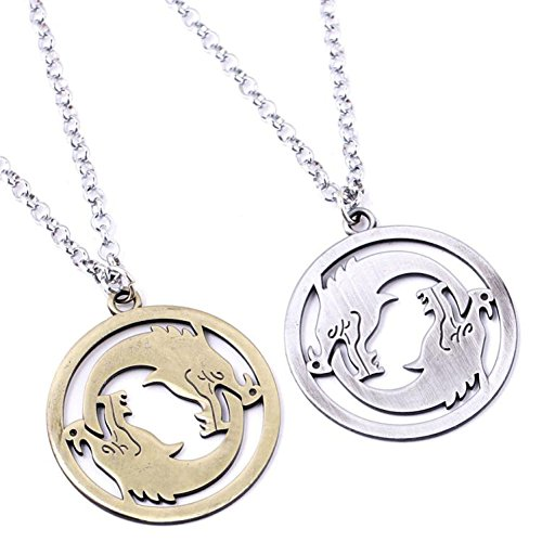 HNNS Overwatch Necklace Gaming Movie Comics Cosplay Accessory Silver Bronze Set 2PCS Stainless Steel Pendant Jewelry