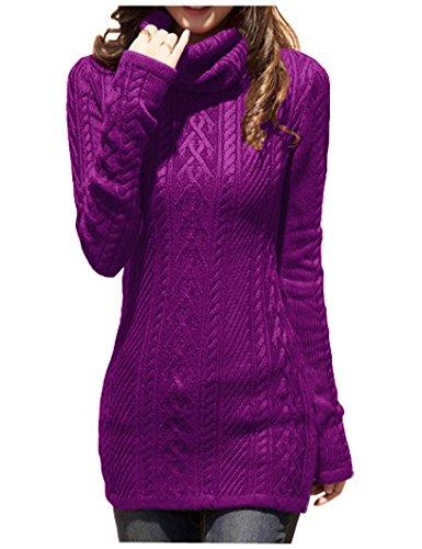 Stretch Sweater Turtleneck - v28 Women Polo Neck Knit Stretchable Elasticity Long Slim Sweater 6-10,LTpurple