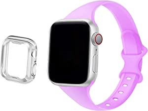 Compatible for Apple Watch Band Series 3 38mm iWatch Bands 38mm Series 5 40mm, Anzhee Slim Thin Soft Silicone Strap Compatible for iWatch SE Series 6 5 4 3 2 1 Women Men, Sport Edition 38/40MM