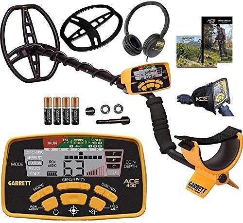 (Garrett Ace 400 Metal Detector with Waterproof Coil and Headphone Plus Accessories)