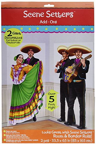 amscan Fiesta Cinco de Mayo Dancers & Mariachis Scene Setter Decoration (2 Piece), Multi Color, 17.7 x ()