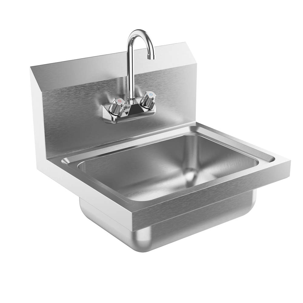 Bonnlo Commercial Stainless Steel Perp/Bar Sink Hand Wash Sink - Wall Mount Hand Washing Basin Commercial Kitchen Heavy Duty with Faucet 17'' L x 15'' W x 14'' H (Without SideSplash)
