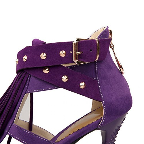 Sandals Hauts Citw Talon Taille Rivets Femmes Talons Tassel Mat Chaussures Grande Haut Violettes 1SSd6w