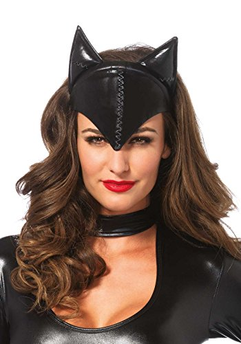 Dark Knight Joker Costume Accessories (Leg Avenue Women's Feline Femme Fatale Mask Costume Accessory, Black, One Size)