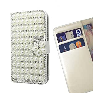 Cat Family Crystal Diamond Waller Leather Case Cover - FOR Samsung Galaxy S3 I9300 I9308 I737 - Pearl Flower -