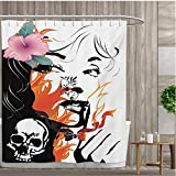 smallfly Tattoo Fabric Bathroom Set with Hooks Attractive Women with Pink Flower in her Hair Near a Skull Design Shower Curtains with Shower Hooks 108''x72'' Orange Pink Black and White