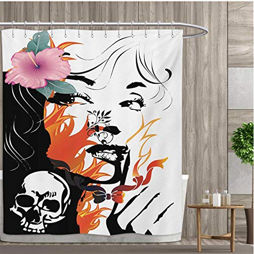 smallfly Tattoo Fabric Bathroom Set with Hooks Attractive Women with Pink Flower in her Hair Near a Skull Design Shower Curtains with Shower Hooks 108''x72'' Orange Pink Black and White by smallfly