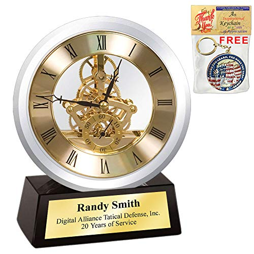 Round Moon Crystal with Da Vinci Moving Gear Clock on Black Crystal Base Gold Personalized Engraving Employee Service Award Retirement Gift Coworker Boss Colleague Wedding Anniversary Birthday