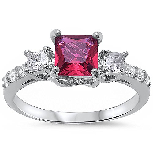 Princess Cut Simulated Ruby & Round Cubic Zirconia Fashion .925 Sterling Silver Ring Size 8 (Ring Cut Ruby)