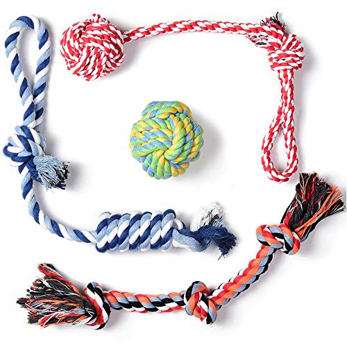 Fida Dog Rope Toys 4 Pack, Puppy Teething Sturdy Cotton Chew Tug Ropes Indoor/Outdoor, Exercise Interactive Tug O'War Toys Set for Boredom Small-Meidum Dogs