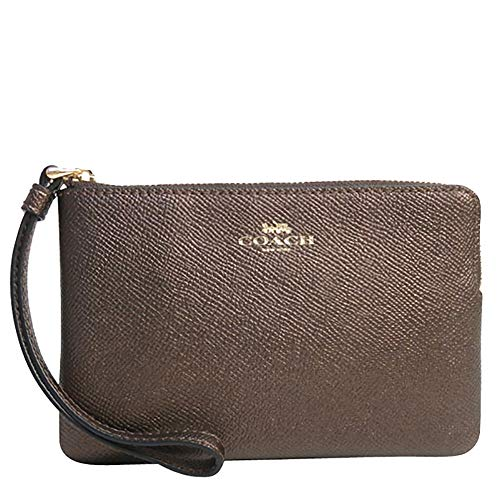 Coach Crossgrain Leather Metallic Corner Zip Wristlet (Metallic ()