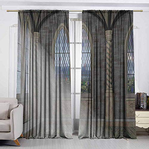 - VIVIDX Rod Pocket Curtains,Fantasy,Crepuscular Rays Streaming Through Stained Glass Window Ancient Palace Castle,Room Darkening Thermal,W55x45L Inches Grey Cream White