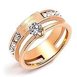 Qindishijia Love Double Zircon Ring-Rose Gold Titanium Retro Eternal Love Ring(Size:7)