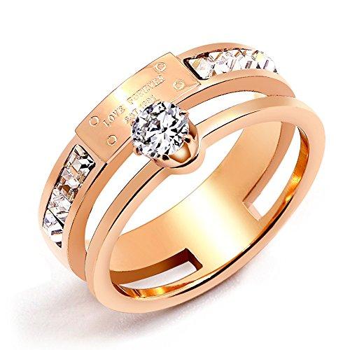 (Qindishijia Love Double Zircon Ring-Rose Gold Titanium Retro Eternal Love Ring(Size:6))