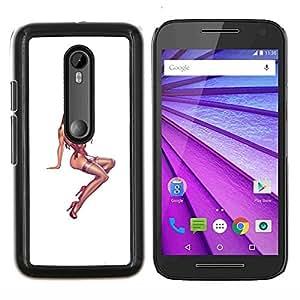 YiPhone /// Prima de resorte delgada de la cubierta del caso de Shell Armor - pin up modelo de pollo chica medias de color rosa blanca - Motorola MOTO G3 / Moto G (3nd Generation)