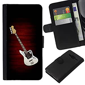 KLONGSHOP // Tirón de la caja Cartera de cuero con ranuras para tarjetas - Guitarra eléctrica minimalista B W - Samsung Galaxy Core Prime //
